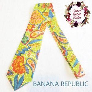 Banana republic floral safari tie cotton colorful